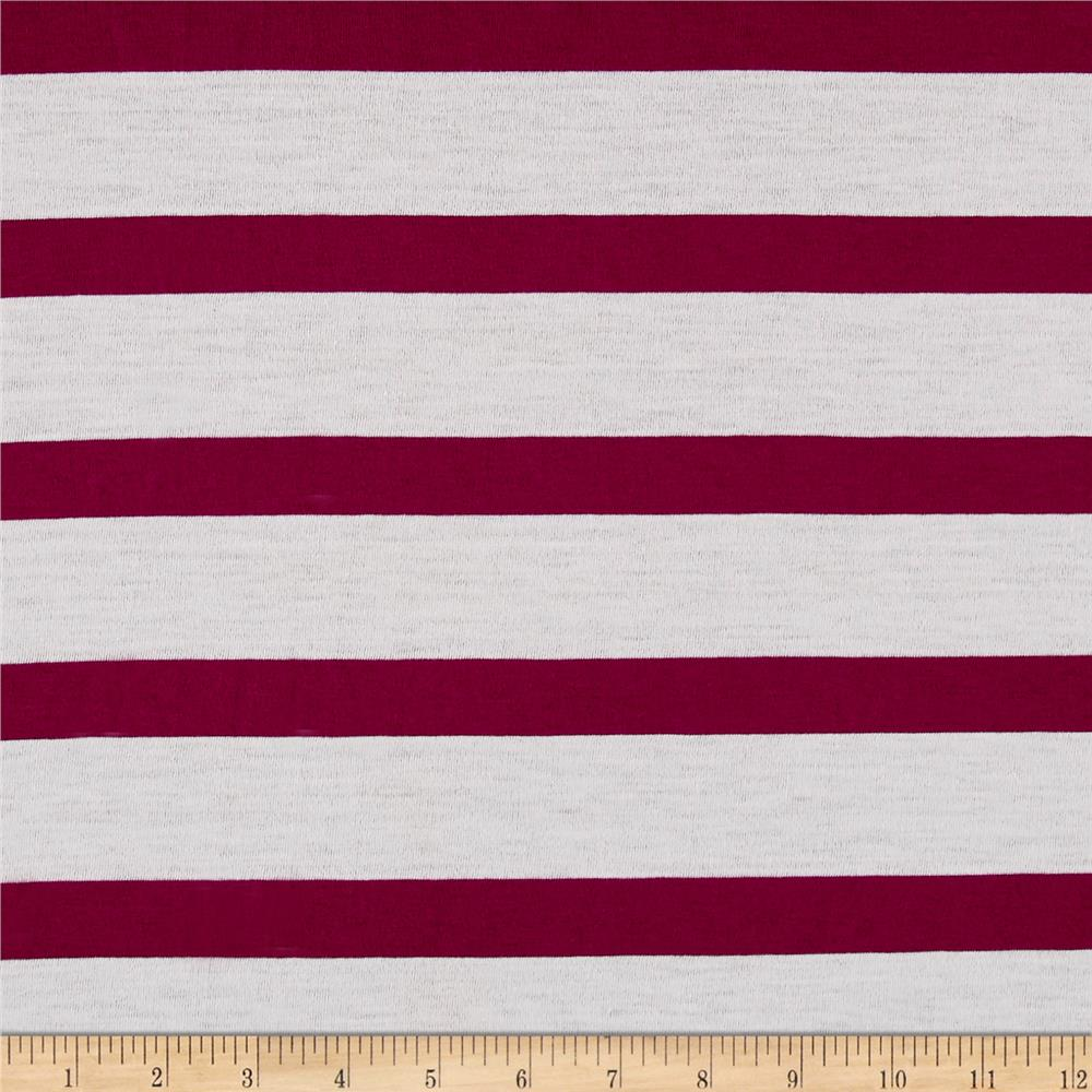 Jersey Knit Large Stripe White/Purple Fabric