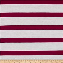 Rayon Jersey Knit Large Stripe White/Purple