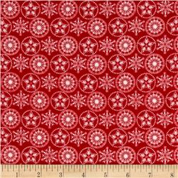 Holiday Frost Flannel  Snowflakes Red