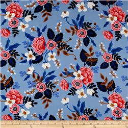 Cotton + Steel Rifle Paper Co. Les Fleurs Rayon Challis Birch Floral Periwinkle