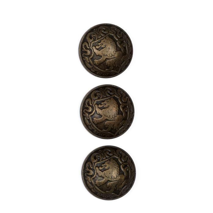 "Metal Button 3/4"" Lion Heart Antique Brass"