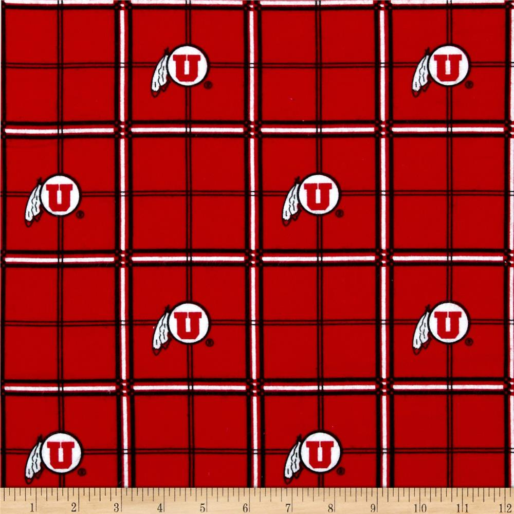 Collegiate Cotton Flannel University of Utah Plaid Crimson