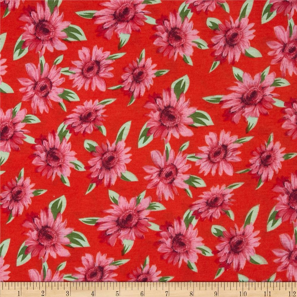 Soft Jersey Knit Floral Red/Pink/Green