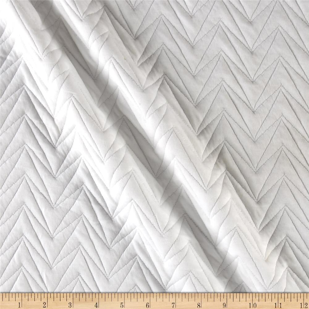 Quilted Liverpool Double Knit Abstract Chevron White