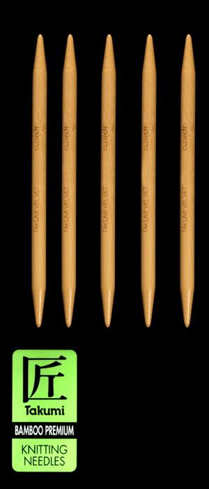 Clover Takumi Bamboo Premium Knitting Needles Double Pt. 7'' US 15 (10mm)
