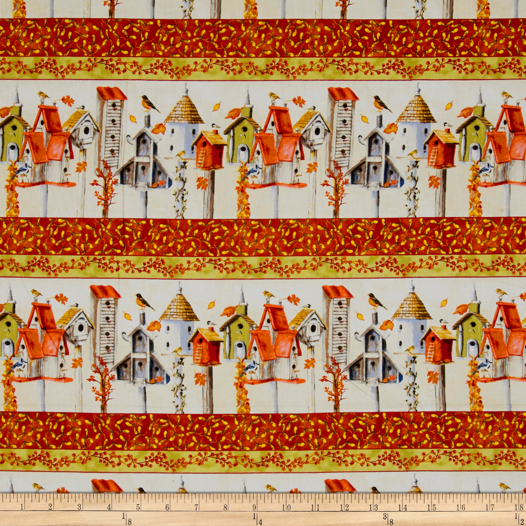 Fall Feast Repeating Stripe Butter Fabric by Clothworks in USA