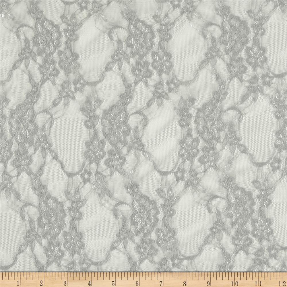 Giselle Stretch Floral Lace Silver Fabric