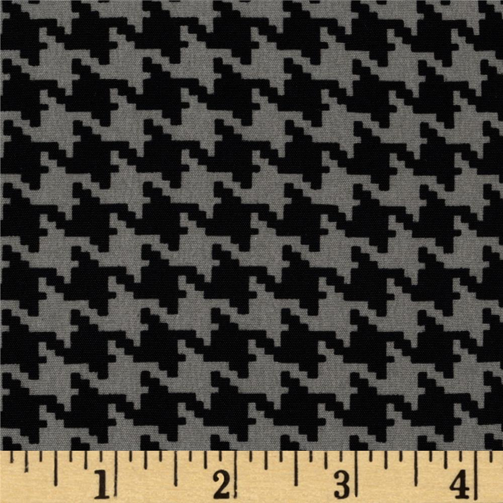 Koshibo Crepe de Chine Mini Houndstooth Grey/Black