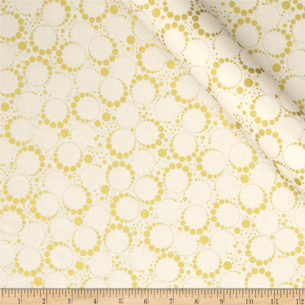 Orbit Metallic Small Circle Dot Gold/Cream