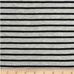 Stretch Rayon Jersey Knit Small Stripe Heather Grey/Black