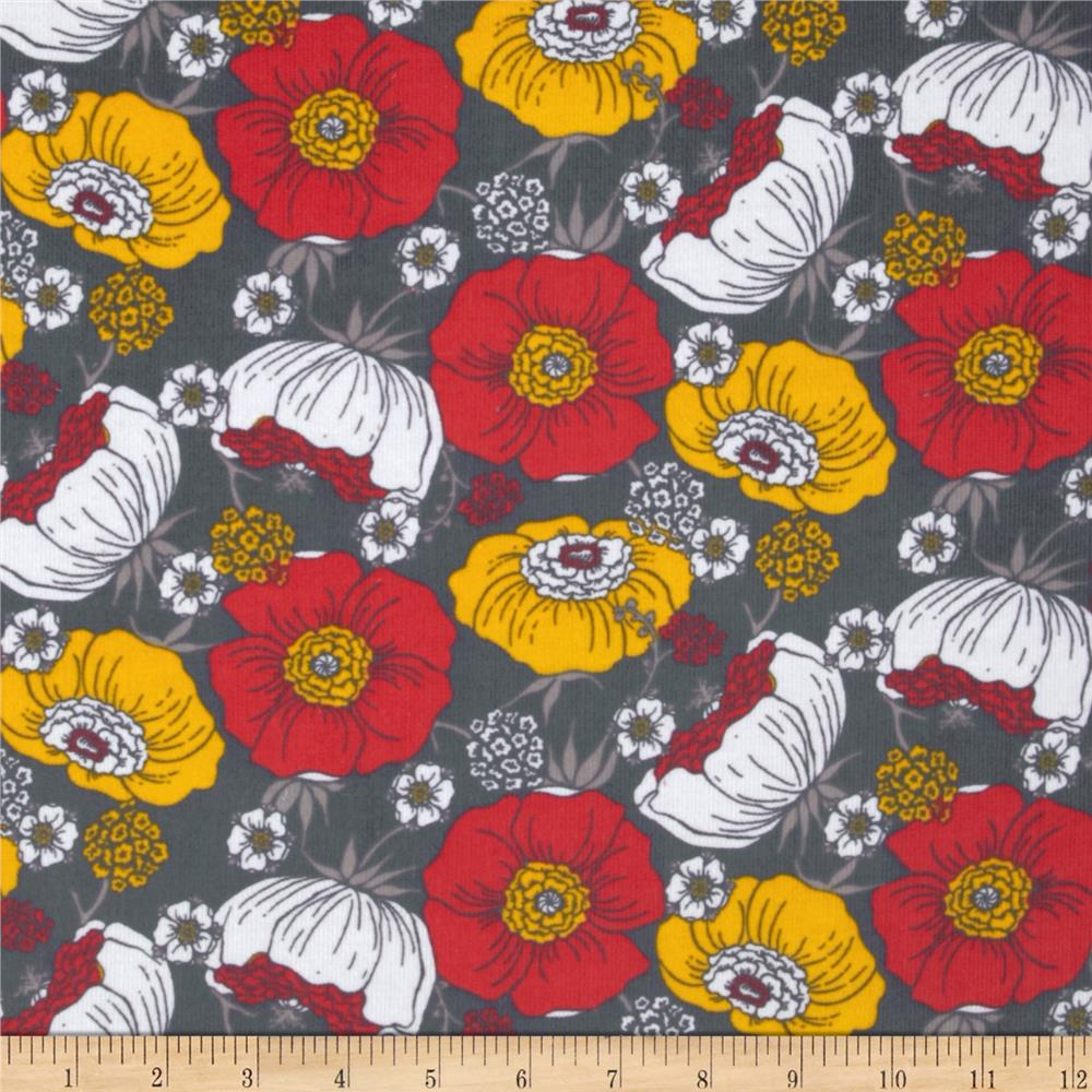 Kaufman 21 wale cool cords flowers grey for Children s corduroy fabric