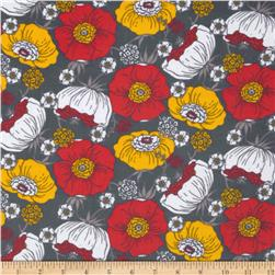 Kaufman 21 Wale Cool Cords Flowers Grey Fabric