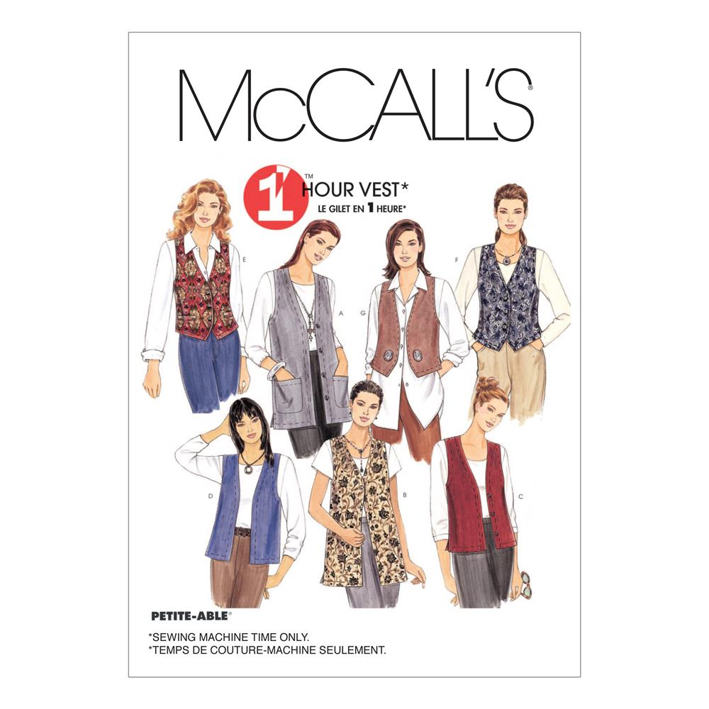 McCall's Misses' Unlined Vests In Two Lengths Pattern