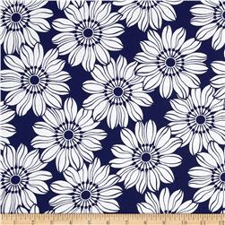 Jet Setter Large Flower Navy Fabric