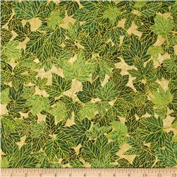 Woodsy Winter Metallic Leaves Natural/Gold