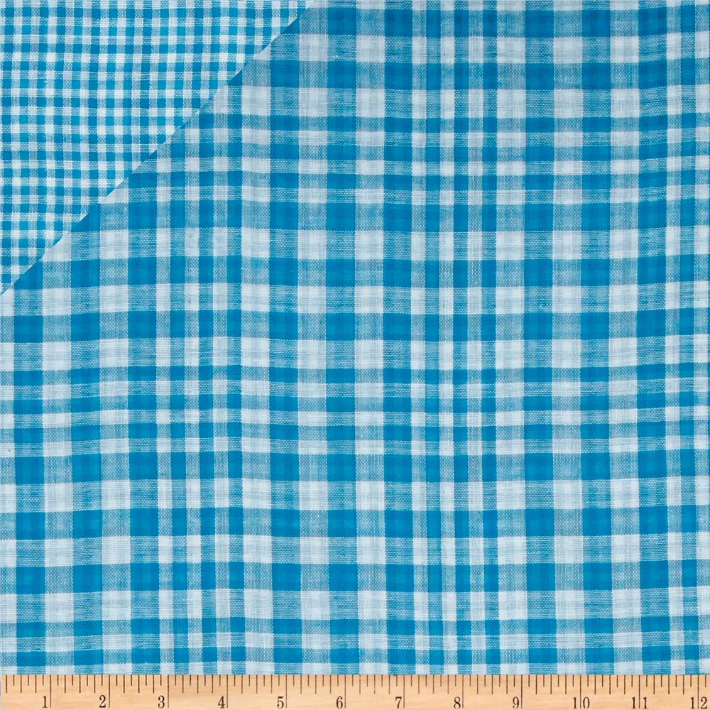 Double Cloth Yarn Dyed Shirting Plaid Turquoise/White