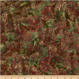 Artisan Batiks Splendid 2 Large Flowers Garden Green