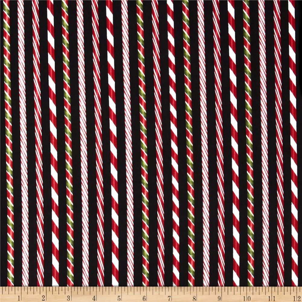Holly Jolly Christmas Candy Cane Holiday Black