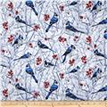 Timeless Treasures Blue Jay Snow White
