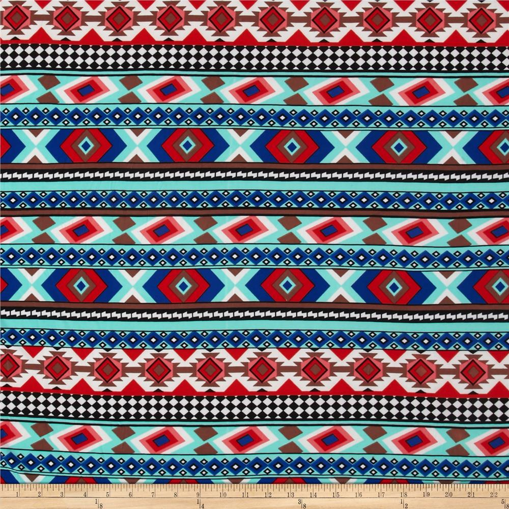 Stretch ITY Jersey Knit Aztec Blue/Mint/Red