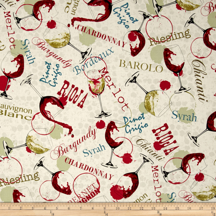 Image of Wine Country Glasses Fabric