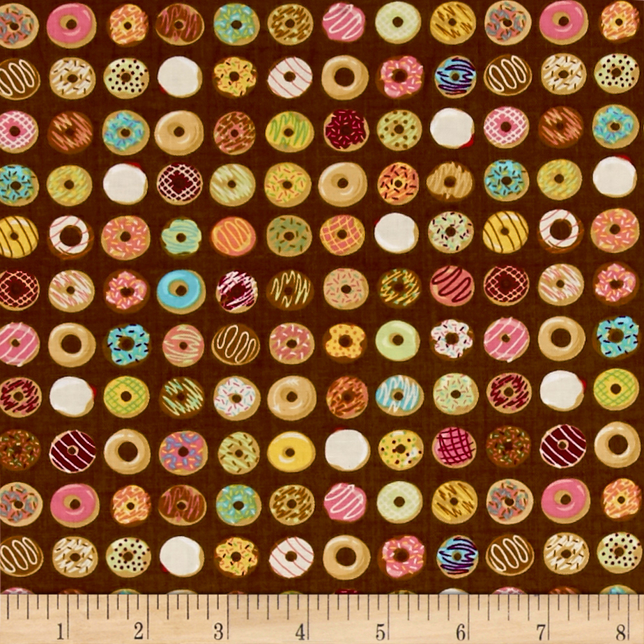 Ink & Arrow Caf-Fiend Doughnuts Dark Brown Fabric by Quilting Treasures in USA