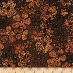 Tuscan Breeze Metallic Flowers Brown