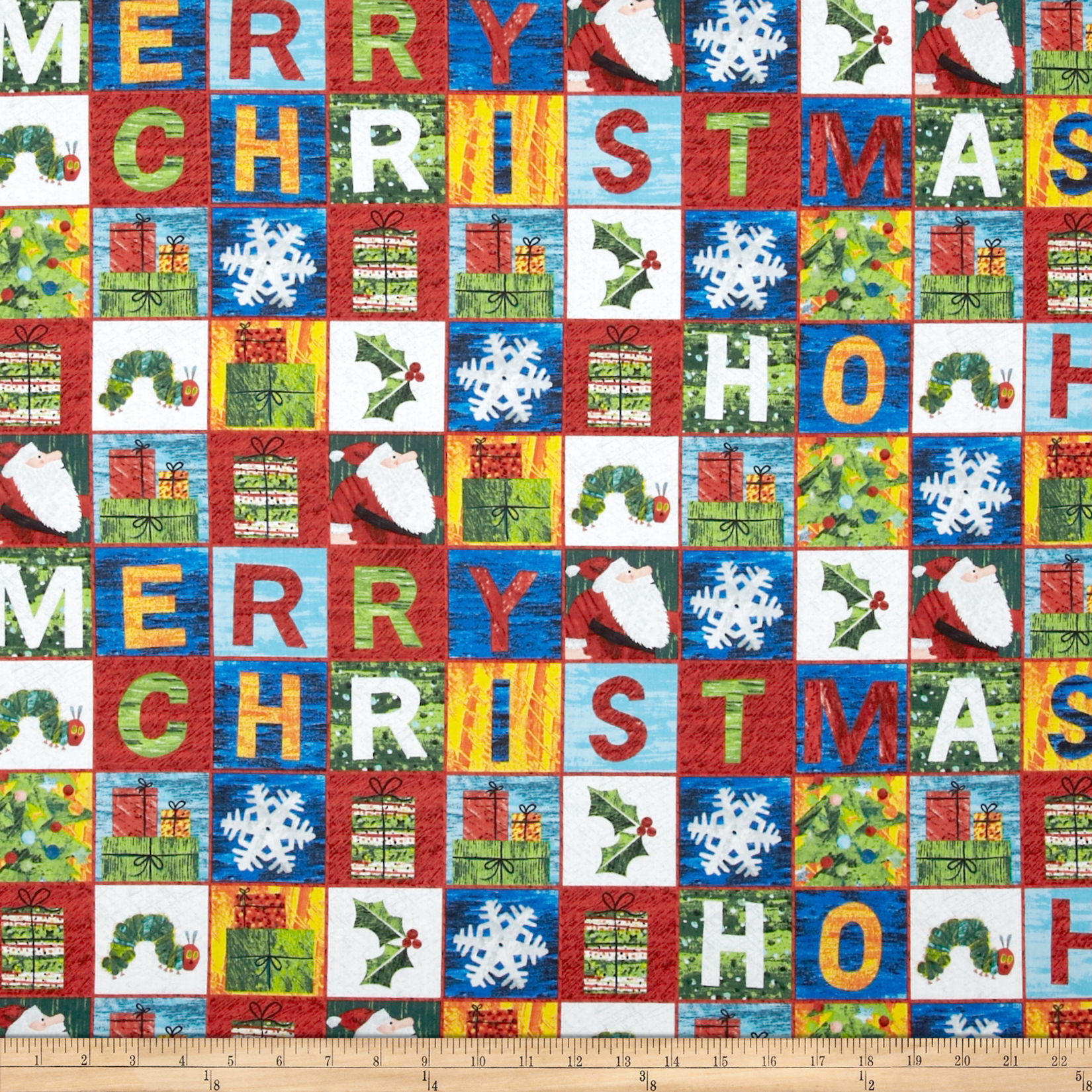 The Very Hungry Caterpillar Christmas Blocks Multi Fabric