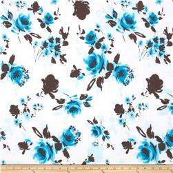 Stretch Poplin Floral White/Turquoise/Brown