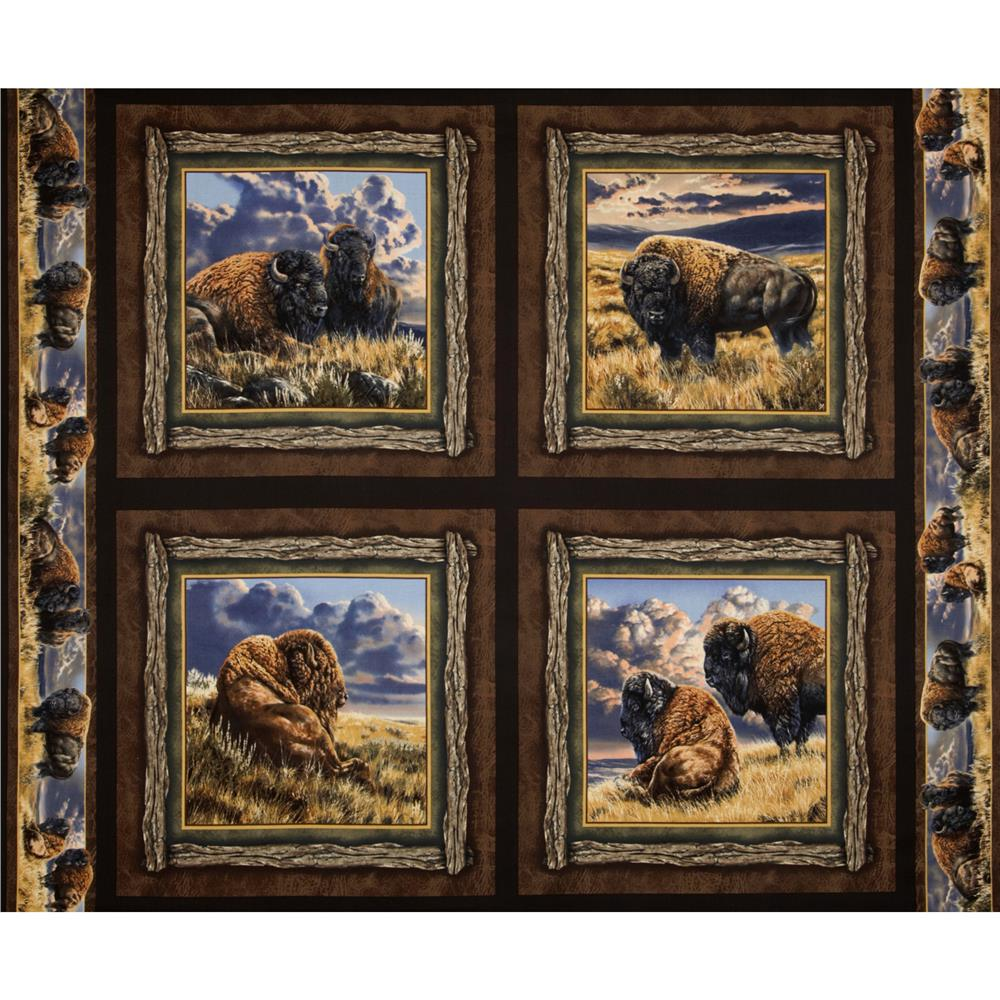 Bison Range Pillow Panel Brown