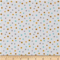 Cloud 9 Organic Fanfare Flannel Confetti Blue Fabric