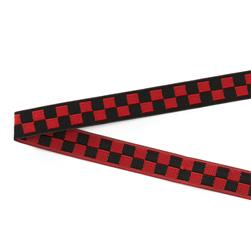 "3/8"" Luella Doss Red & Black Checkerboard Ribbon"