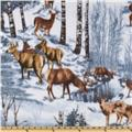 WinterFleece Snowy Deer Brown/Grey