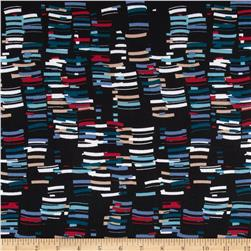 Maya Stretch ITY Jersey Knit Geo Lines Black/Blue/Maroon