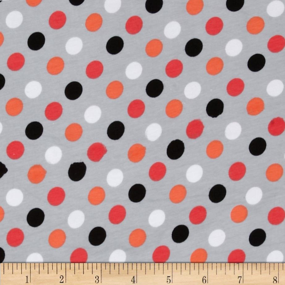 Cotton Lycra Jersey Knit Polka Dot Grey/Multi