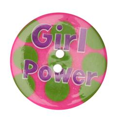 Novelty Button 1-3/8'' Girl Power Pink