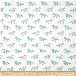 Premier Prints Mustangs Twill Coastal Blue Fabric
