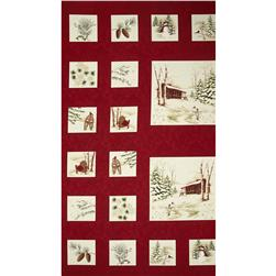 Moda Holiday In The Pines Panel Cardinal Red