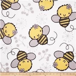 Plush Coral Fleece Tossed Bees White Fabric