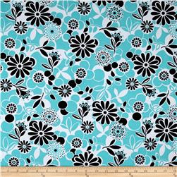Happy Floral Fun Floral Activewear Aqua/Black