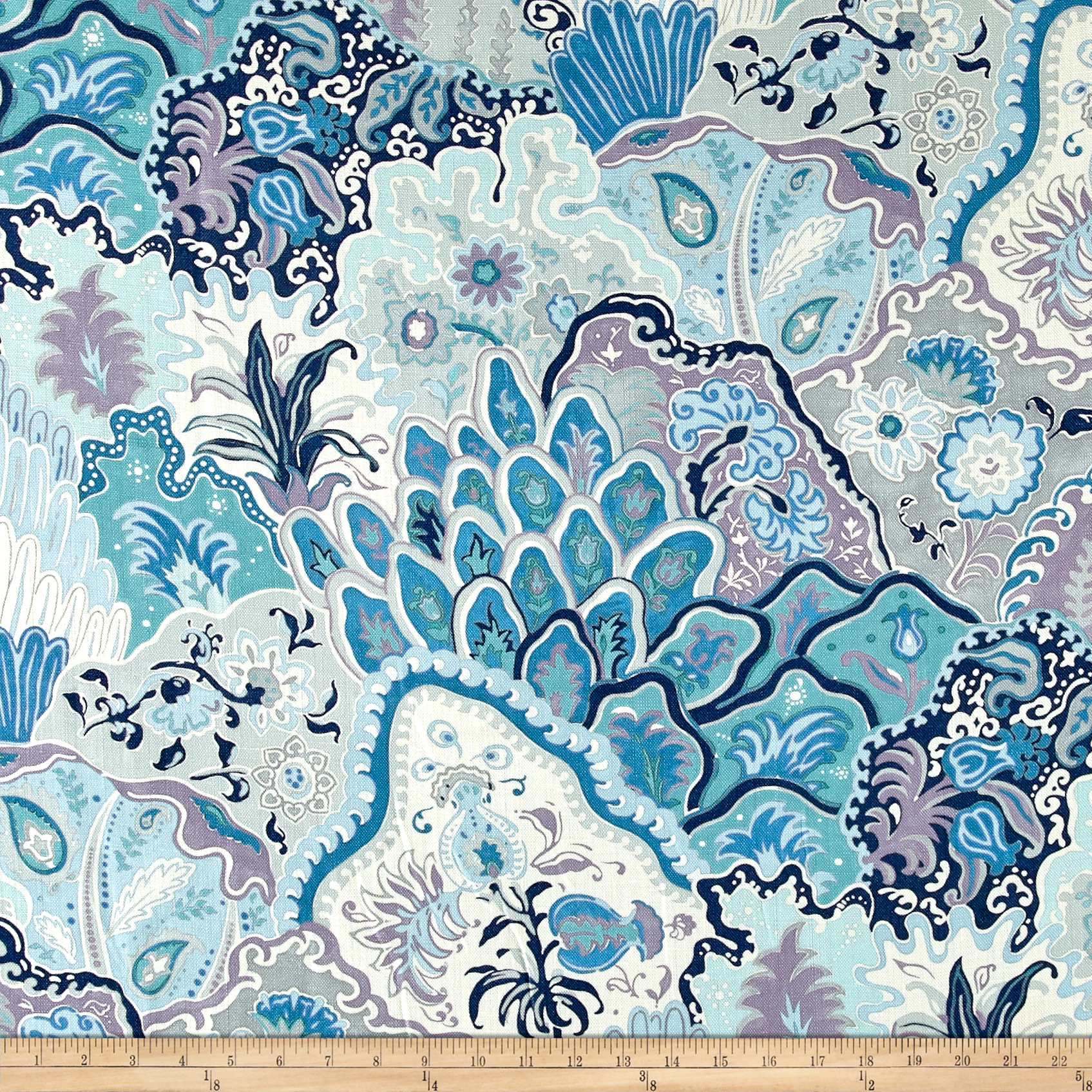 Clarence House 100% Linen Jaipur Blues Fabric