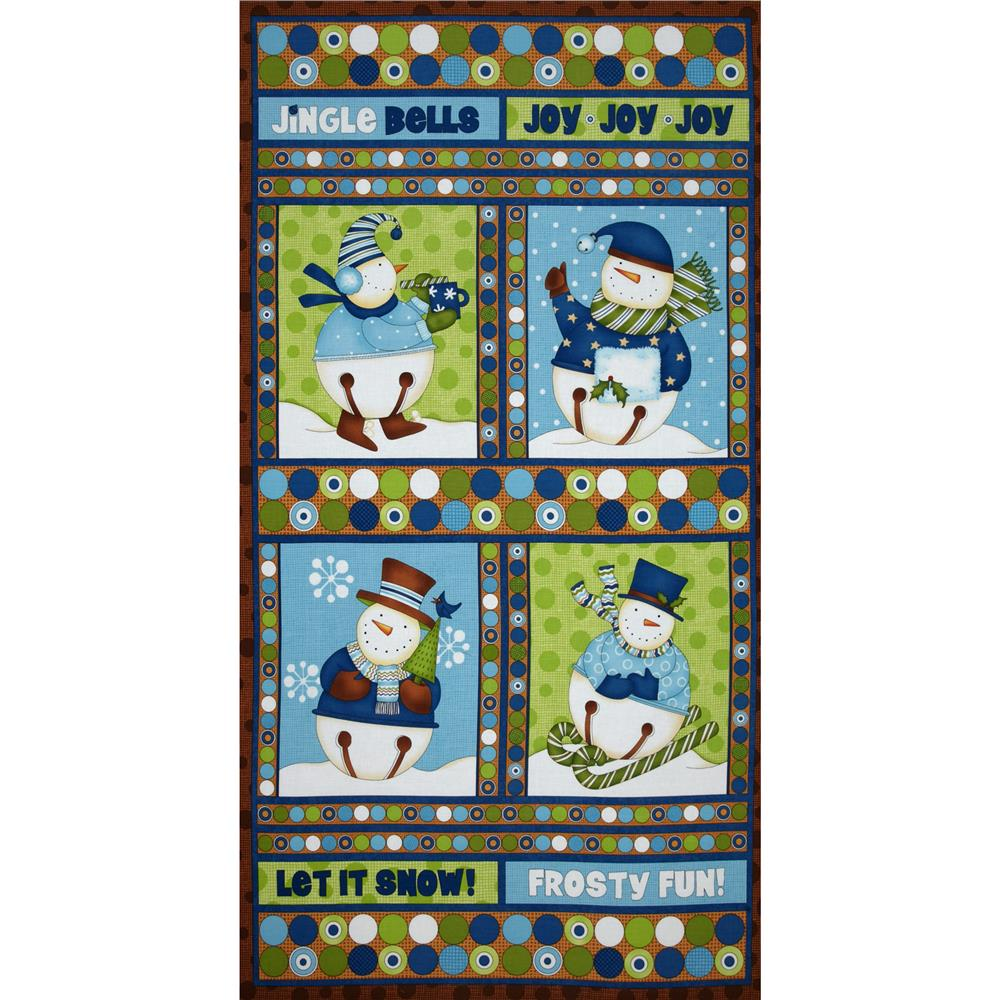 Jingle Bell Snowmen Wallhanging Panel Blue/Brown