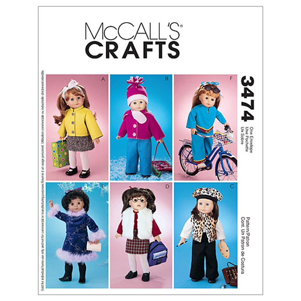 "McCall's 18"" Doll Accessories Pattern M3474 Size OSZ"