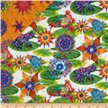 Calypso Frogs Double Sided Quilted Tropical Frogs White/Multi