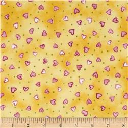 Daisy Love Flannel Small Hearts Sorbet