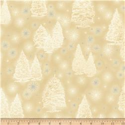 Kaufman Winter Grandeur Metallic Trees Champagne