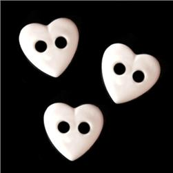 Novelty Buttons 3/8'' Petit Hearts White