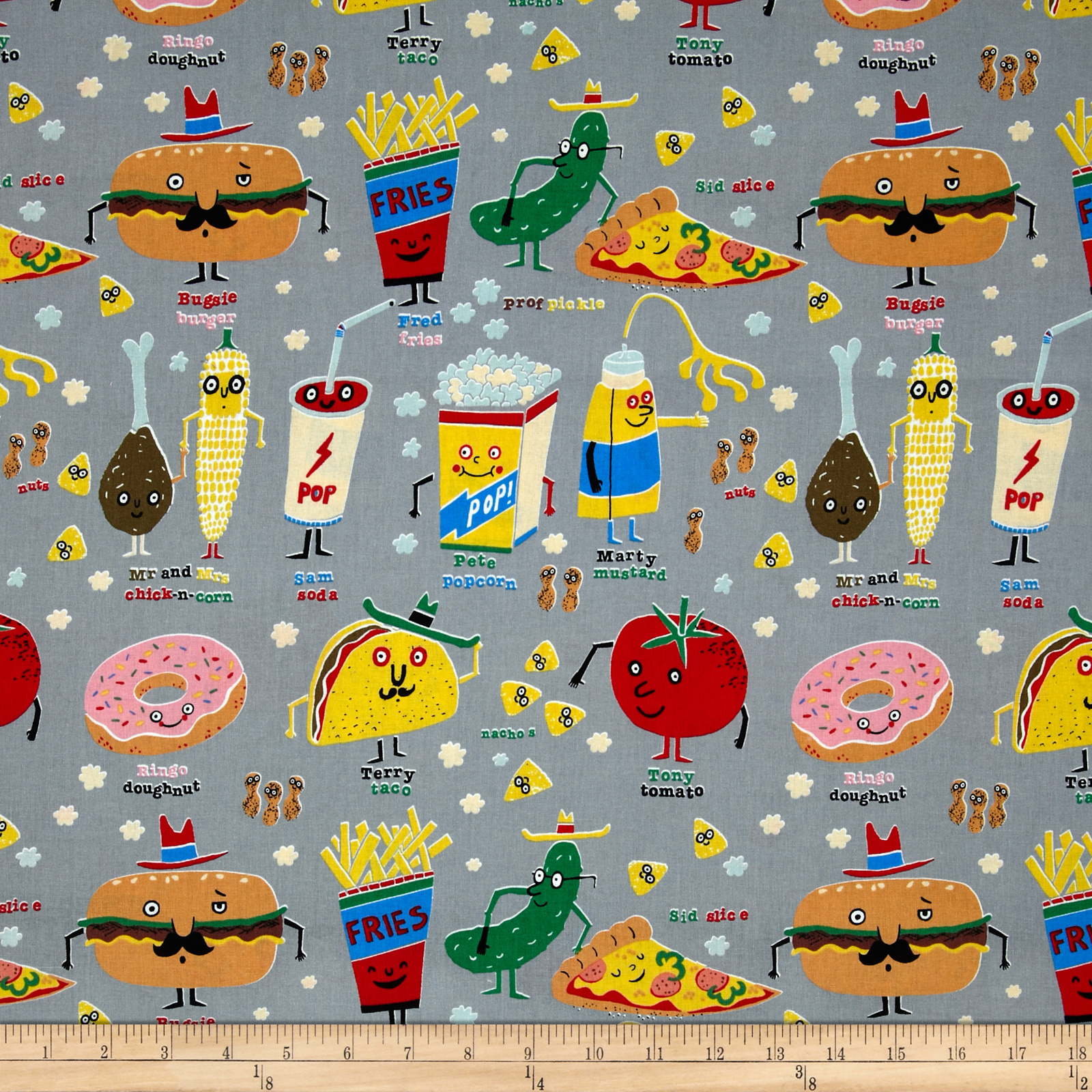 Nicole's Prints Snappy Snacks Grey Fabric