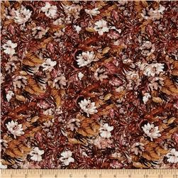 French Designer Rayon Challis Tropical Floral/ Leaves Rusty Orange/Brown