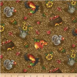 Autumn Bounty Tossed Harvest Brown Fabric